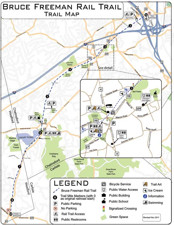 Map of Bruce Freeman Rail Trail in Chelmsford and Westford, MA